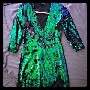 Zara blue/green/black sequin dress